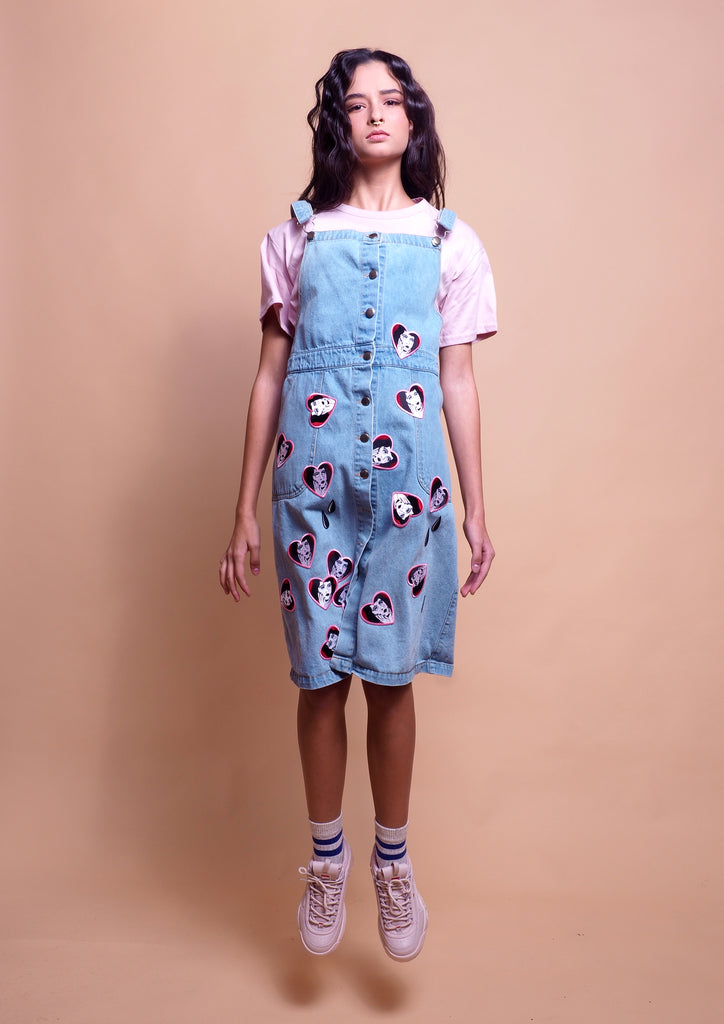 sarafan denim dress, denim patches dress, summer denim dress, patches, cry lady, tears denim dress, limited jeans dress