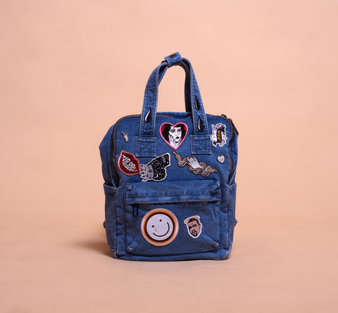 denim, bag, pack, patches, pins, denimbag, kanye bag, limited bag