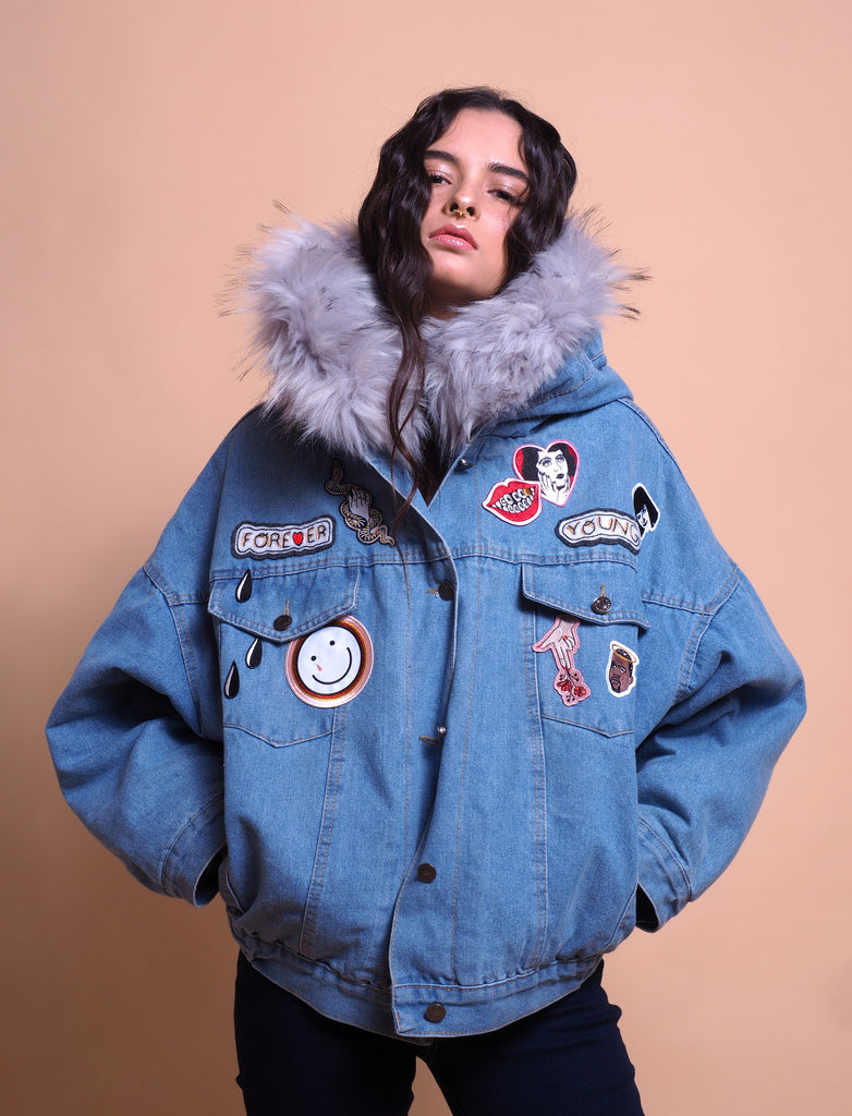 denim, jacket, denimjacket, upgraded, handmade, patches, fur denim, limited denim jacket