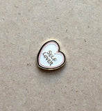 Pin, heart, self love, love yourself pin, gold pin, lover, etsy pin, gift idea, heart shape
