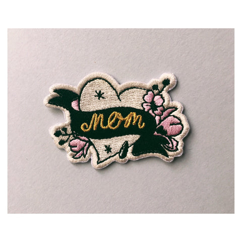 Patch, love, tattoo, old school tattoo, heart mom patch, mom tattoo patch, flowers, ink patch