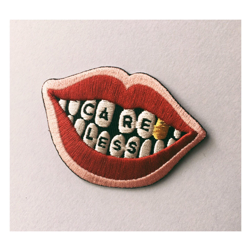 Lips, careless, patch, smile patch, rolling stones, vintage patch, illustration, iron on patch, etsy