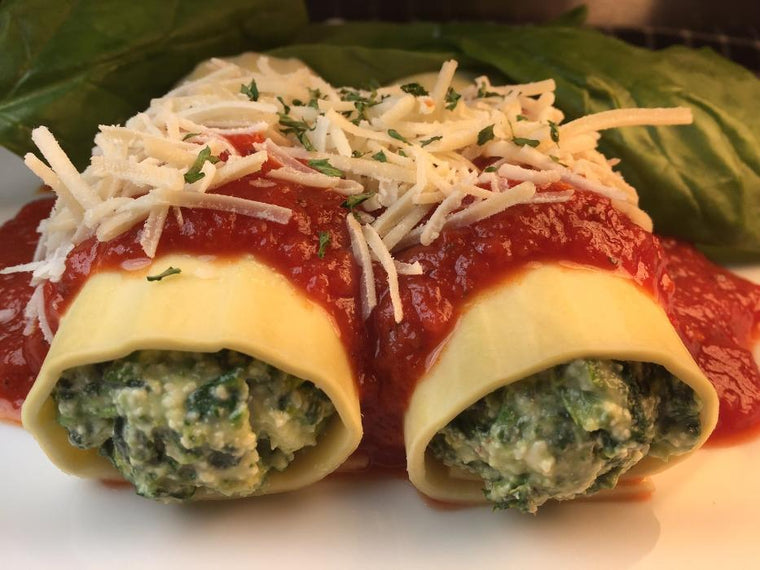 Spinach Lasagna Rolls Prepared Meal