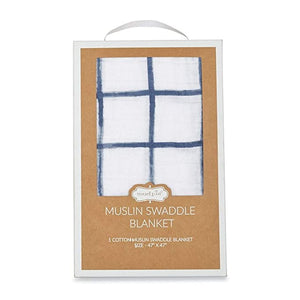 Window Pane Swaddle - Navy