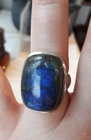 Polished Rectangle Labradorite Ring