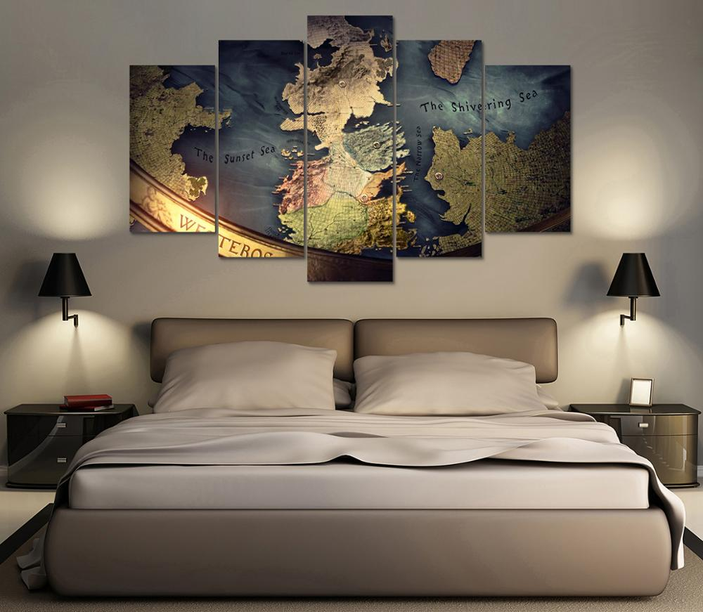 Game of Thrones Intro Map - 5 Piece Canvas Set - Canvas-HD