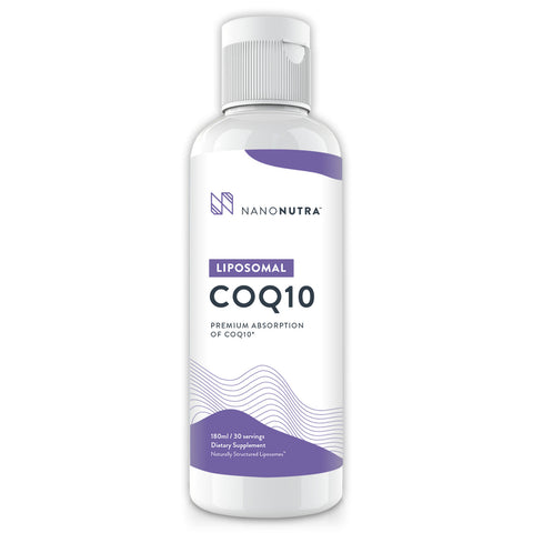NanoNutra's Liposomal CoQ10 liquid boosts energy levels, supports heart health, and anti-aging. *