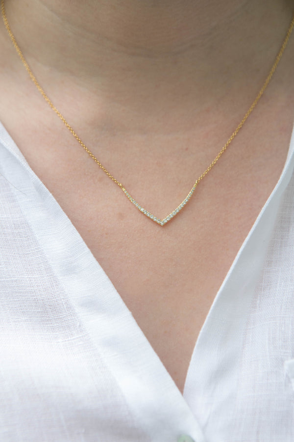 Vivienne wide V Pave Necklace
