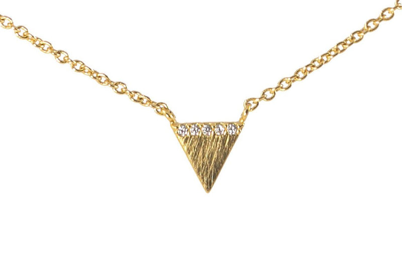 Violet Triangle Necklace Pave