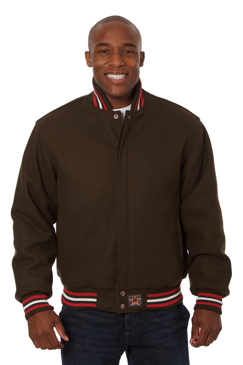 All-Wool Varsity Jacket in Brown