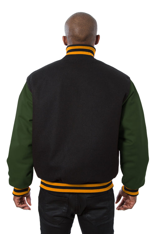 All-Wool Varsity Jacket in Black and Green