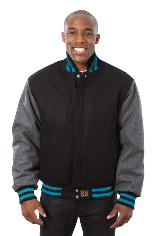 All-Wool Varsity Jacket in Black and Gray