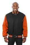 All-Wool Varsity Jacket in Black and Orange