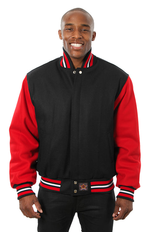 All-Wool Varsity Jacket in Black and Red