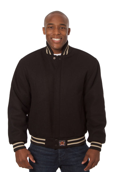 All-Wool Varsity Jacket in Black
