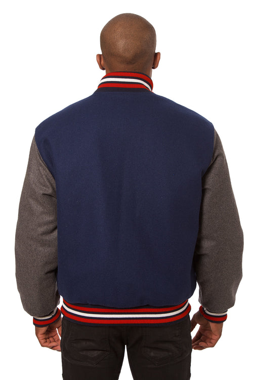 All-Wool Varsity Jacket in Navy Blue and Gray
