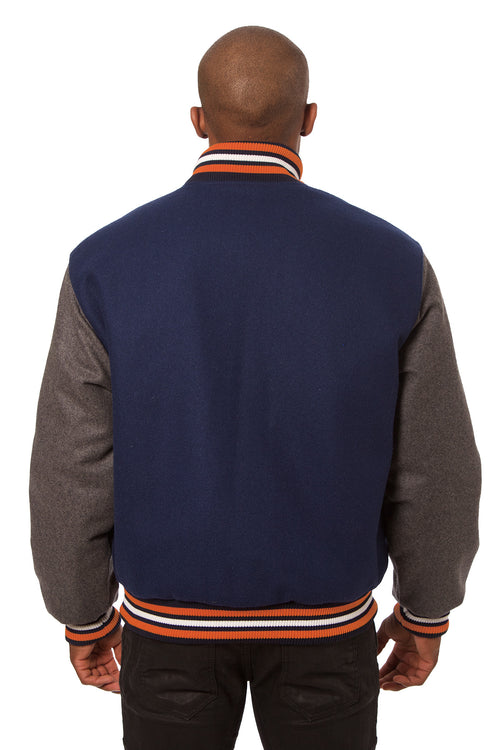 All-Wool Varsity Jacket in Navy and Gray