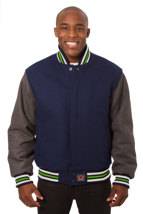 All-Wool Varsity Jacket with Navy Blue and Gray