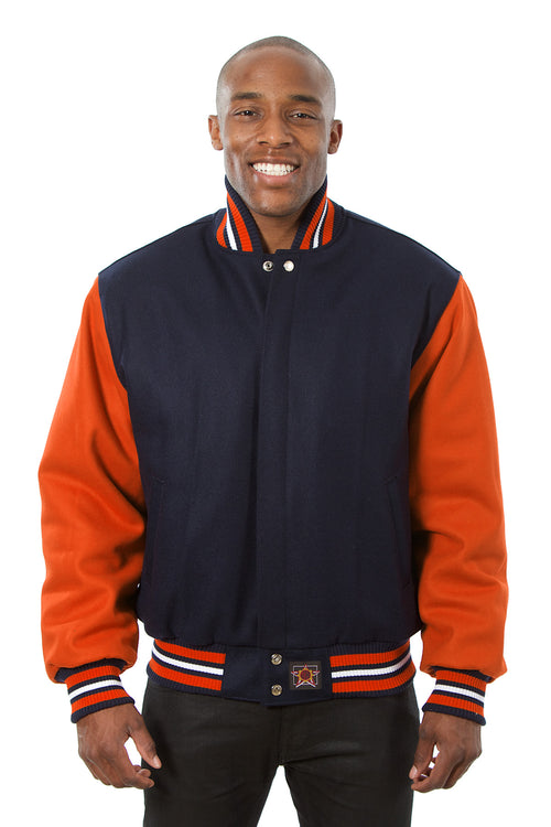 All-Wool Varsity Jacket in Navy and Orange