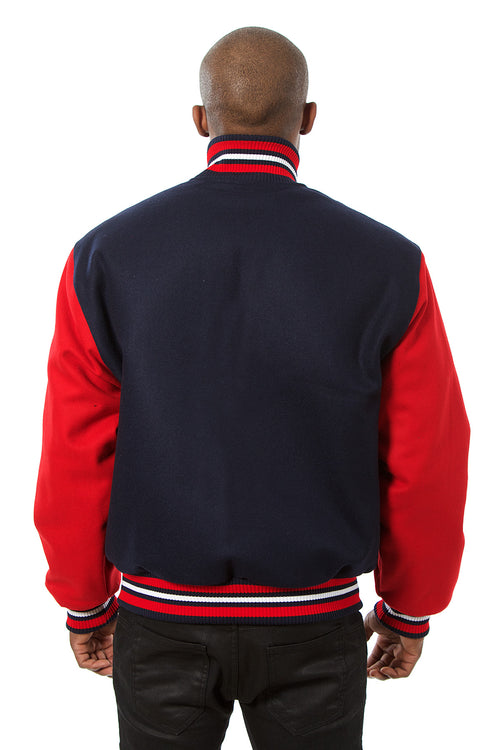 All-Wool Varsity Jacket in Navy and Red