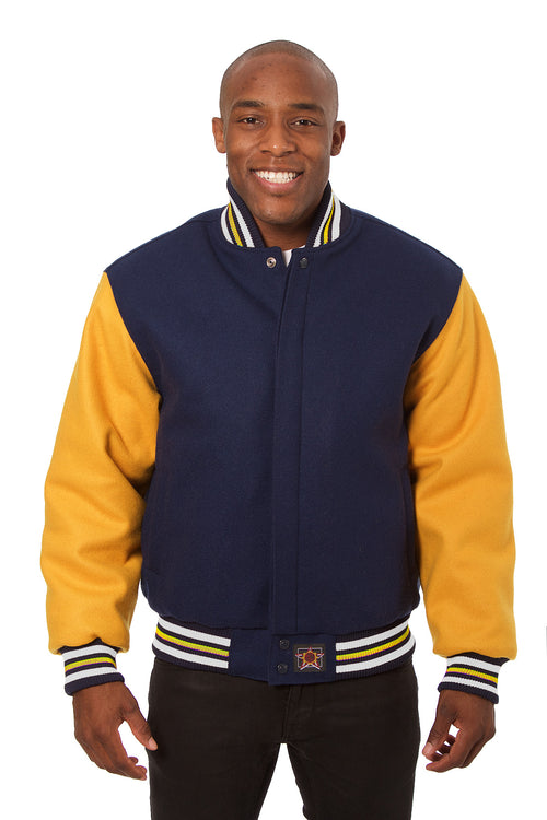 All-Wool Varsity Jacket in Navy Blue and Yellow
