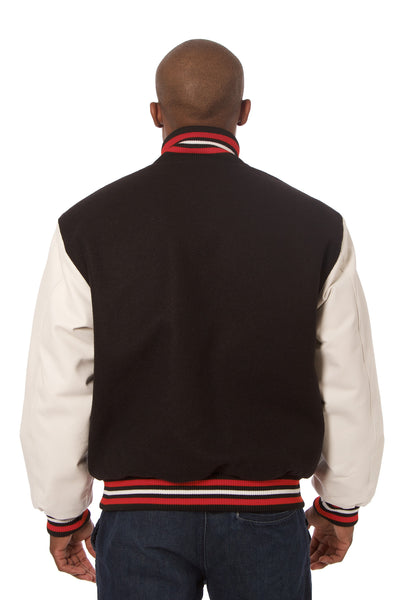 Wool and Leather Varsity Jacket in Black and Cream