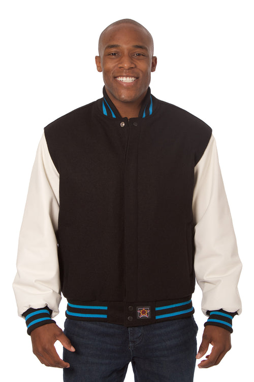 Wool and Leather Varsity Jacket in Black and White