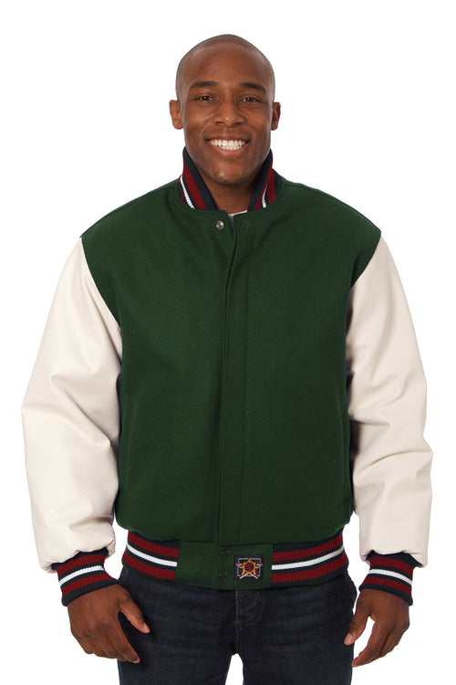 Wool and Leather Varsity Jacket in Green and Cream