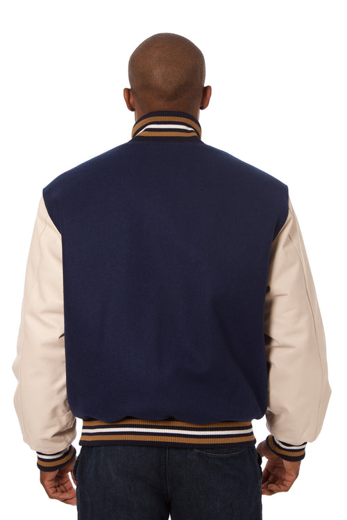 Wool and Leather Varsity Jacket in Navy and Cream