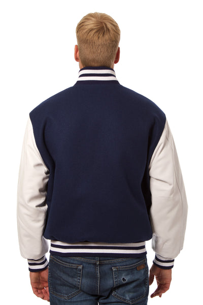 Wool and Leather Varsity Jacket in Navy and White