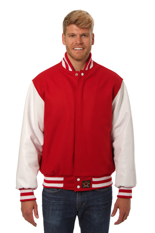 Wool and Leather Varsity Jacket in Red and White