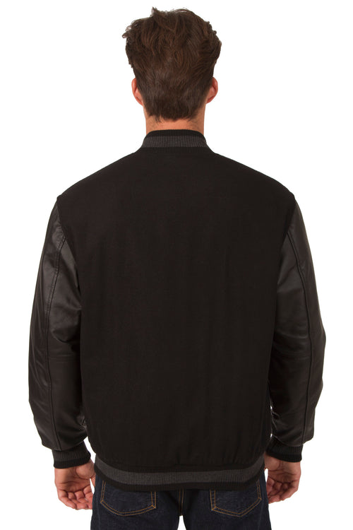 Wool and Leather Reversible Jacket in Black