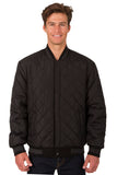 Wool and Leather Reversible Jacket in Charcoal-Black