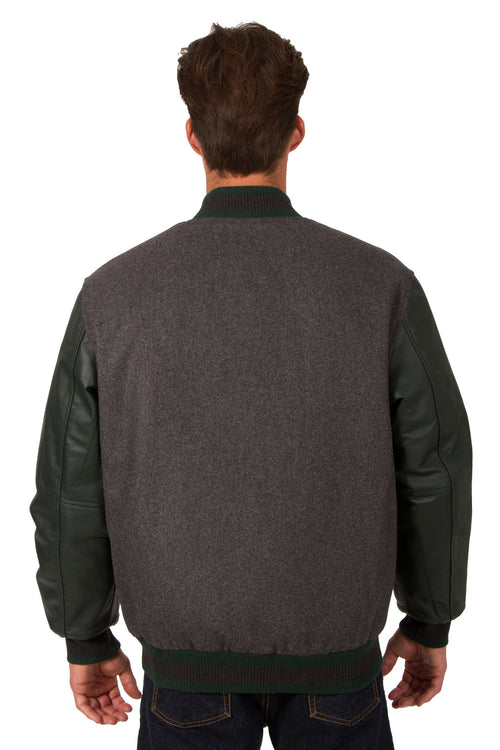 Wool and Leather Reversible Jacket in Charcoal-Green