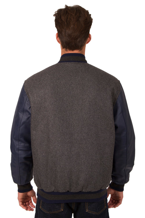 Wool and Leather Reversible Jacket in Charcoal-Navy