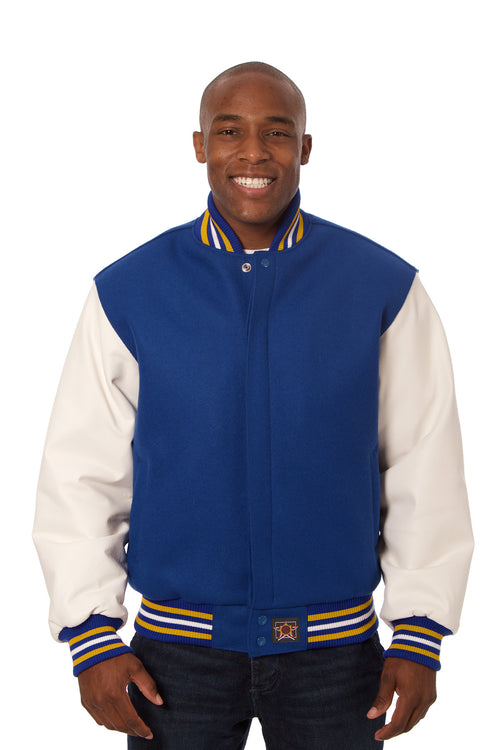 Wool and Leather Varsity Jacket in Royal and White
