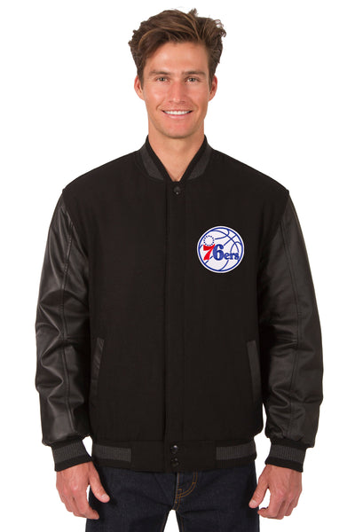Philadelphia 76ers Reversible Wool and Leather Jacket (Front Logos Only)