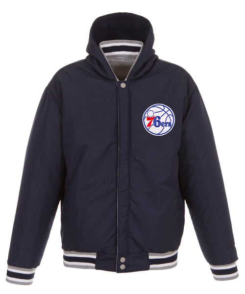 Philadelphia 76ers Reversible Fleece and Faux Leather Jacket