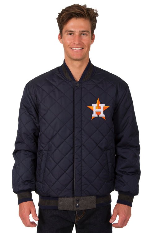 Houston Astros Reversible Wool and Leather Jacket