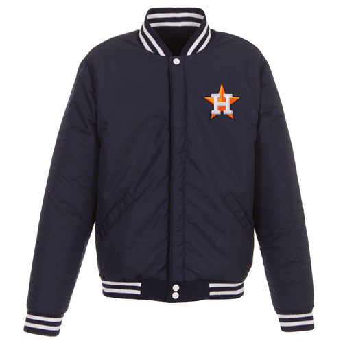 Houston Astros Reversible Fleece Jacket with Faux Leather Sleeves