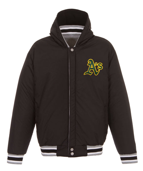 Oakland A's Reversible Fleece Jacket with Faux Leather Sleeves