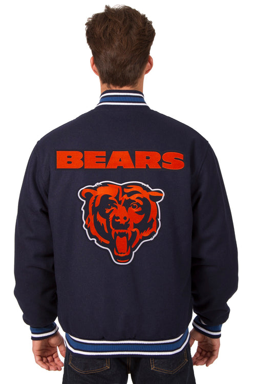 Chicago Bears All-Wool Reversible Jacket (Front and Back Logos)