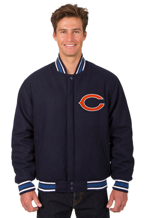 Chicago Bears All-Wool Reversible Jacket (Front Logos Only)