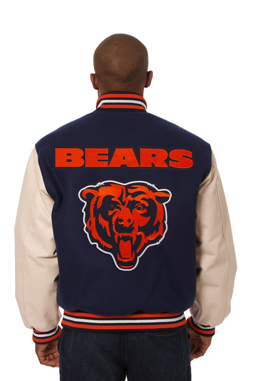Chicago Bears Embroidered Wool and Leather Jacket
