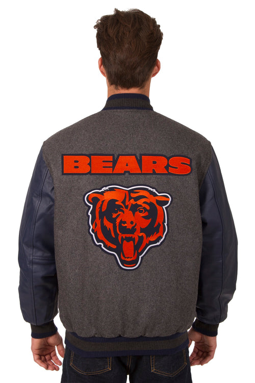 Chicago Bears Reversible Wool and Leather Jacket (Front and Back Logos)