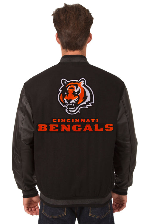 Cincinnati Bengals Reversible Wool and Leather Jacket (Front and Back Logos)