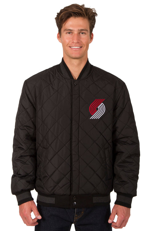 Portland Trail Blazers Reversible Wool and Leather Jacket
