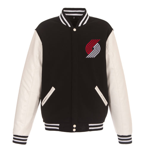 Portland Trail Blazers Reversible Fleece Jacket with Faux Leather Sleeves