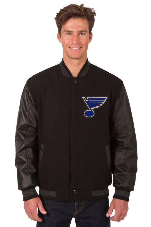 St. Louis Blues Wool and Leather Reversible Jacket (Front and Back Logos)