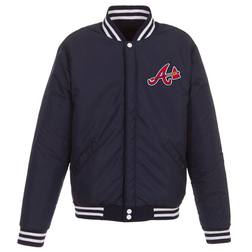Atlanta Braves Reversible Fleece Jacket with Faux Leather Sleeves